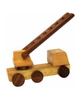 Desi Karigar Wooden Toy Fire Brigade Truck - Brown