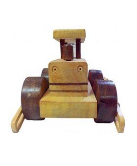Desi Karigar Wooden Toy Road Roller - Brown Yellow