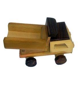 Desi Karigar Wooden Toy Dumper Truck - Brown Yellow