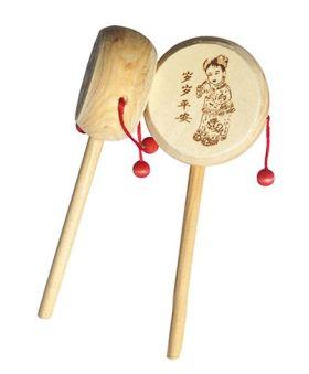 Desi Karigar Wooden Rattle Drum Musical Instrument - Set Of 2