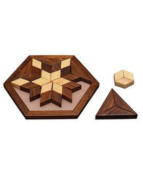Desi Karigar Small Wooden 30-Piece Star Jigsaw Puzzle Board- Wooden Toy Game - Brain Teaser