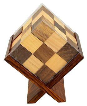 Desi Karigar Handmade Wooden Game Soma Cube In Stand - Brown