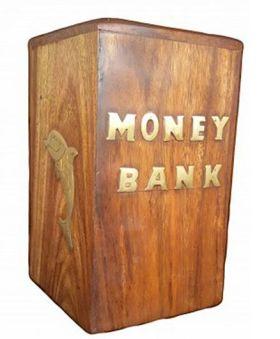 Desi Karigar Wooden Money Bank - Brown