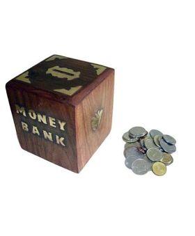 Desi Karigar Sheesham Wood Money Bank - Dark Brown