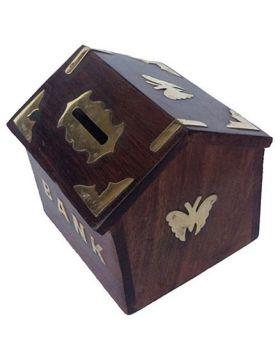 Desi Karigar Sheesham Wood Hut Shaped Money Bank - Dark Brown