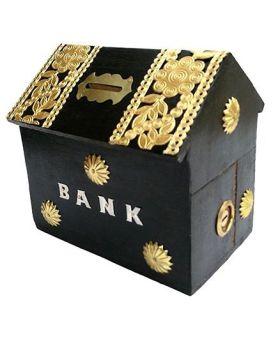 Desi Karigar Wooden Hut Shaped Piggy Bank - Black