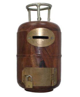 Desi Karigar Wooden Cylinder Shaped Money Bank - Brown