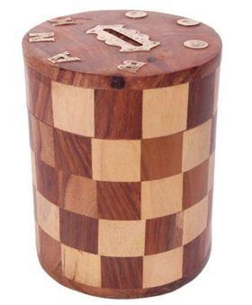 Desi Karigar Wooden Chess Style Round Money Bank - Brown