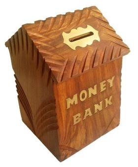 Desi Karigar Wooden Hut Shaped Money Bank - Brown