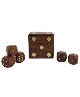 Desi Karigar Wooden Dice Set of 5 - Brown