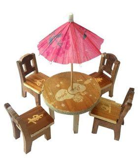 Desi Karigar Wooden Miniature Dinning Table Set - Brown