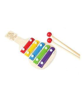 Desi Karigar Wooden Guitar Shaped Xylophone - Multicolour