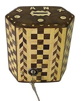 Desi Karigar Wooden Hexagon Money Bank - Brown