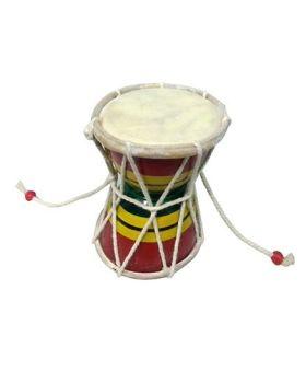 Desi Karigar Handmade Small Wooden Damru - Multicolour