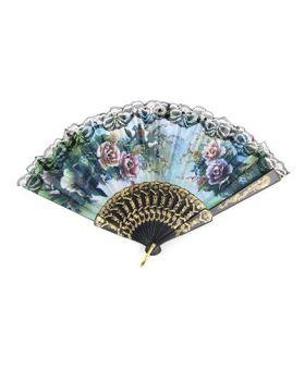 Desi Karigar Floral Lace Hem Foldable Hand Fan - Blue