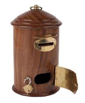 Desi Karigar Wooden Letter Post Box Money Bank - Brown