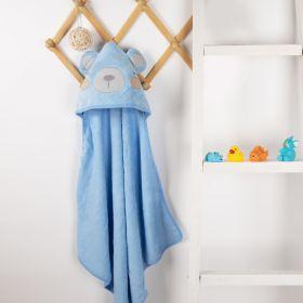 Kicks & Crawl - Blue Bear Hooded Towel