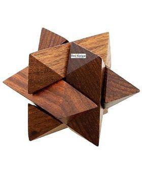 Desi Karigar Handmade 3D Star Jigsaw Wooden Brainteaser Puzzle Game Made In Pure Sheesham Wood - Brown