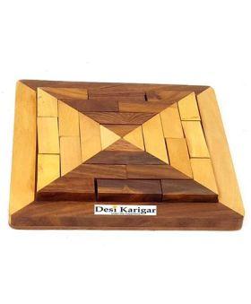 Desi Karigar Handmade Square Wood Tangram Puzzle Game Set - Brown Yellow