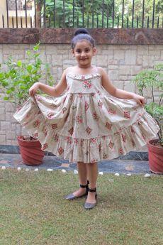 Simply Kitsch-Beige Dabu printed Gather dress