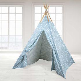Role Play Kids-Role Play Teepee Tent - Blue Base white dot