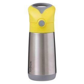 b.box Insulated Straw Sipper Drink Water Bottle 350ml- Lemon Sherbet Yellow Grey