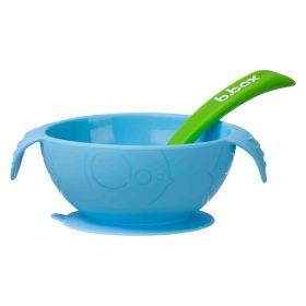 b.box Silione First Feeding Bowl Set with Spoon - Ocean Breeze Blue Green