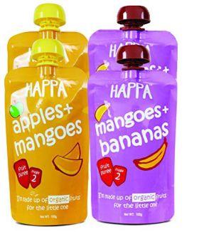 HappaFoods-Mango+Banana, Apple+Banana + Only Apples (Pack of 3)