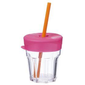 b.box Universal Silicone Lid & Straw Travel Pack - Strawberry Shake Pink Orange