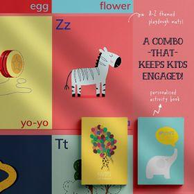 Elemeno Kids-A for Alphabet, B for Book: An Interactive 'learn-through-play' Combo -  ALPHABET PLAYDOUGH MATS &  ACTIVITY BOOK