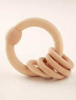 Ariro Toys Wooden Rattle - Circular Natural
