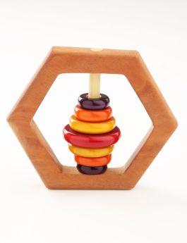 Ariro Toys Wooden Rattle - Hexagon