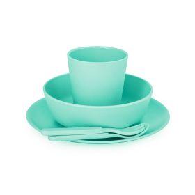 Bobo & Boo-Non-Toxic, BPA-Free, 5 Piece Children's Bamboo Dinner Set- Mint Green