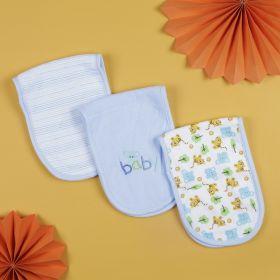 Baby Moo-Printed Blue 3 Pk Burp Cloth
