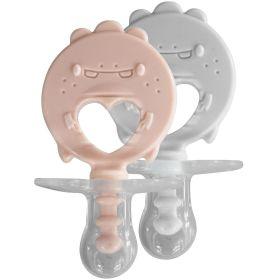 ZoLi BINKI.T Pacifier + Teether Combination Dino (Pack of 2)-Blush/Ash