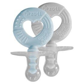 ZoLi BINKI.T Pacifier + Teether Combination Circle (Pack of 2)-Mist Blue/Ash