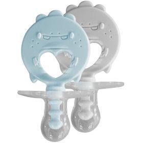ZoLi BINKI.T Pacifier + Teether Combination Dino (Pack of 2)-Mist Blue/Ash
