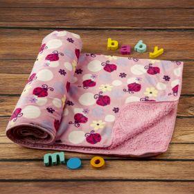 Baby Moo-Ladybug Pink Fur Blanket