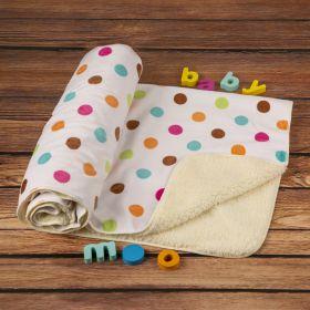 Baby Moo-Polka Dot White Fur Blanket
