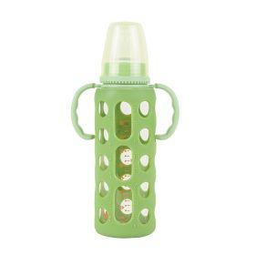 Baby Moo-Good Grip Green 240 ml Glass Feeding Bottle With Handle