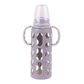 Baby Moo-Good Grip Purple 240 ml Glass Feeding Bottle With Handle