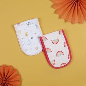 Baby Moo-Rainbow And Elephant Red And White 2 Pk Burp Cloth