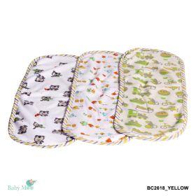 Baby Moo-Wanderlust Yellow 3 Pk Burp Cloth