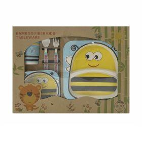 Baby Moo-Honey Bee Yellow Bamboo Fiber Dinner Set