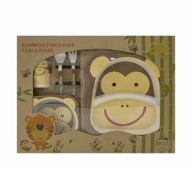 Baby Moo-Monkey Cream Bamboo Fiber Dinner Set