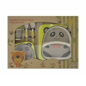 Baby Moo-Panda Grey Bamboo Fiber Dinner Set