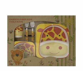 Baby Moo-Giraffe Yellow & Orange Bamboo Fiber Dinner Set