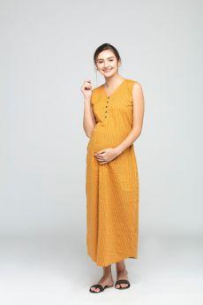 Charismomic-A line Orange Streak Maternity/ Nursing Dress
