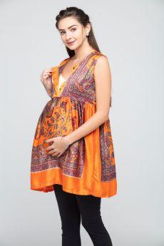 Charismomic-Mediterranean Queen's Silk kaftan Top in Tangerine