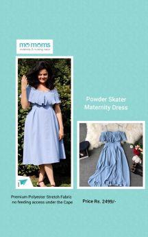 MoMoms-Deep Neck Ruffle Cape Dress